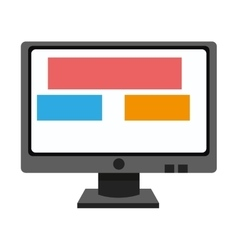 Computer monitor with boxes on screen icon vector