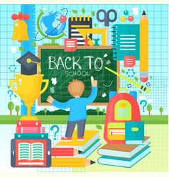 back to school banner with boy drawing on the vector image