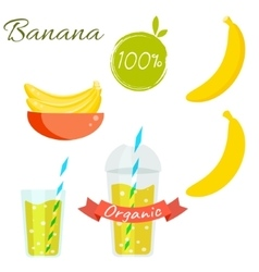 Banana fruit and juice set vector image vector image