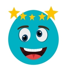 blue cartoon face with yellow stars graphic vector image