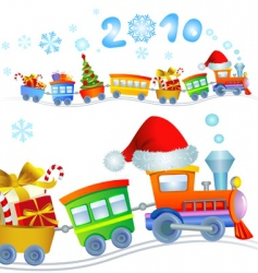 Christmas train 2010 vector image