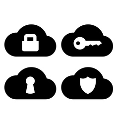 Cloud security icons set vector image vector image