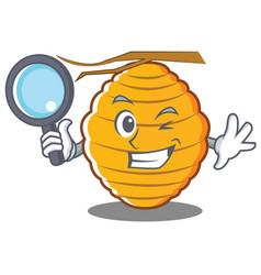 Detective bee hive character cartoon vector