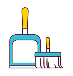 dustpan and hand broom in color sections vector image vector image