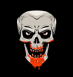 Evil skull and blood halloween zombie undead vector