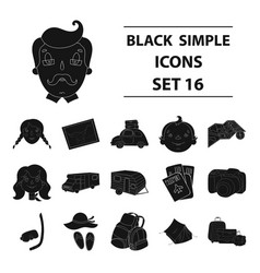 Family holiday set icons in black style big vector