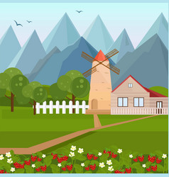 farm house in the mountains with strawberries vector image