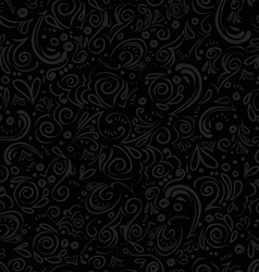 Grey seamless floral pattern on black background vector image vector image