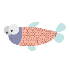 light colours silhouette of fish with big eyes and vector image