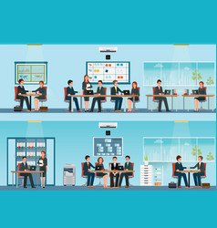 Office worker with office desk and business vector