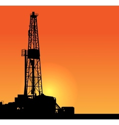 Oil drilling sunset vector