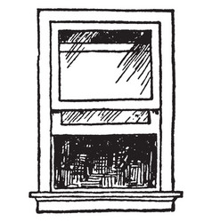Open single-hung sash window other panes vintage vector