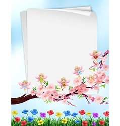 Paper design with flowers and fairies vector