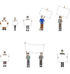 people with banners vector image