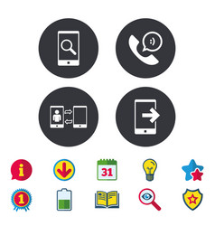 Phone icons call center support symbol vector