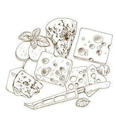 Pile of hand drawn cheese with basil vector