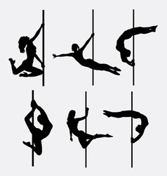 Pole dancer female silhouettes vector