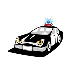 Police car cartoon character with flashing siren vector