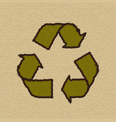 Recycle symbol on cardboard vector