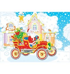 Santa driving a car with gifts vector image vector image
