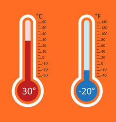 Thermometers icon goal flat isolated on orange vector