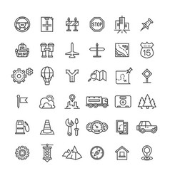 travel auto thin line icons collection vector image vector image