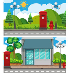 two scenes with shop and park vector image