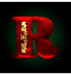 Velvet r letter with gold vector