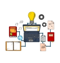 Web education and techology icons vector image vector image