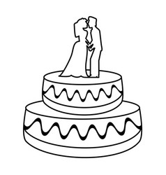 wedding cake couple dessert outline vector image