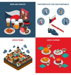 Czech republic 4 isometric icons square vector
