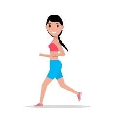 Cartoon woman running jogging vector