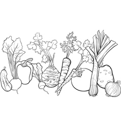 vegetables group for coloring book vector image