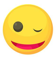 winking smiley icon cartoon style vector image