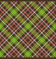 Brown green check plaid seamless pattern vector