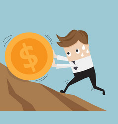 businessman pushing big coin up hill business vector image