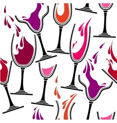 Seamless pattern with glasses of wine vector image