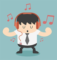 Businessman listening to music vector