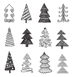 Set of doodle hand drawn christmas trees vector