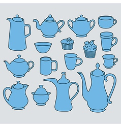 Simple coffee tea crockery silhouette set vector