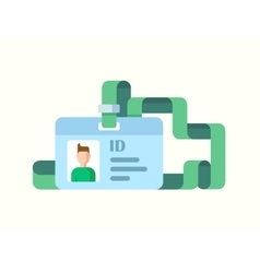 Badge id with twisted ribbon flat style vector