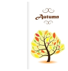Drawing of bright autumn tree on a white vector