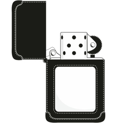 Gasoline lighter in stylish black leather sheath vector