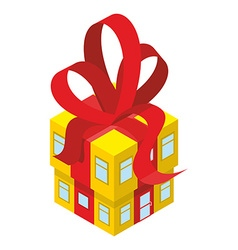 Building box gift with red bow yellow house with vector