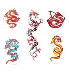 Glass asia hot dragon colored sign set vector