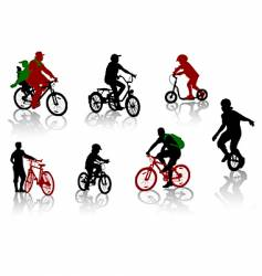 Bicycle rdiers silhouettes vector