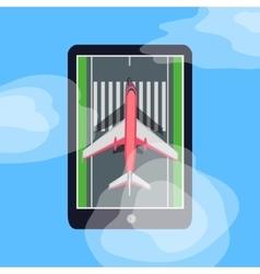 Airplane on runway in smartphone blue sky cloud vector