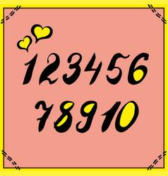 Alphabet numbers hand-drawn doodle sketch vector