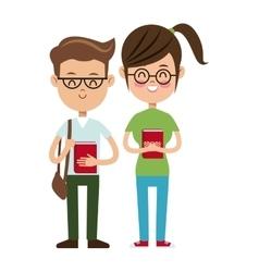 Back to school boy and girl nerd students vector