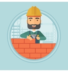 Bricklayer building brick wall vector